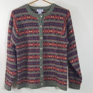 Sweaters - SKYR Fair Isle Wool Cardigan Button Front Small